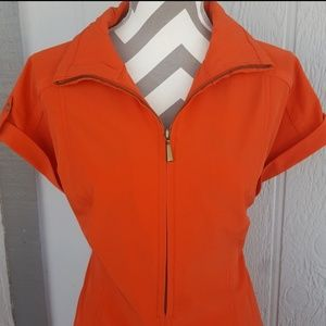 Chico's Orange Short Sleeve Dress Size 2.5 Large